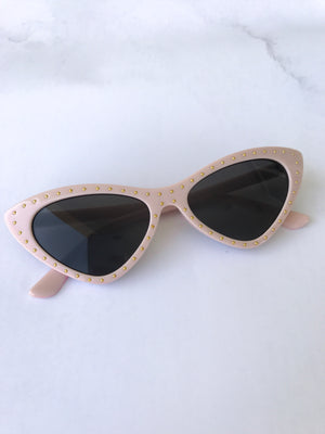 Slim Cat Eye Mini Stud Sunglasses Pink