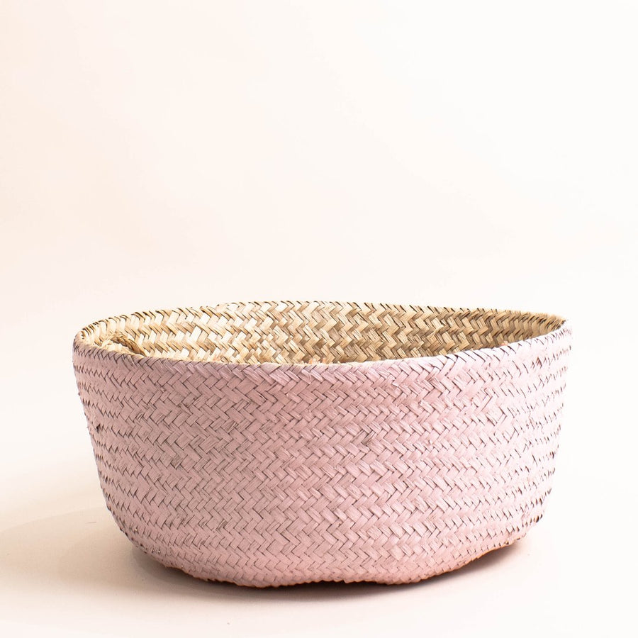 Prickly Pear Hand Woven Seagrass Basket Pink