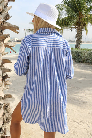Catch Feels Stripe Oversized Shirt Blue