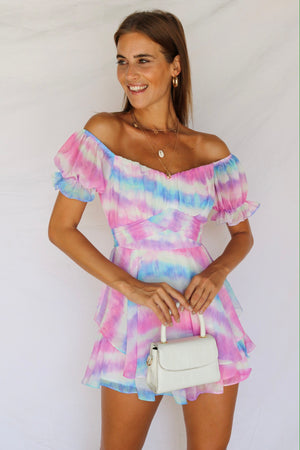 Head In The Clouds Playsuit Pastel Multi Pink