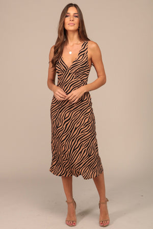 Out Of Here Zebra Print Dress Tan