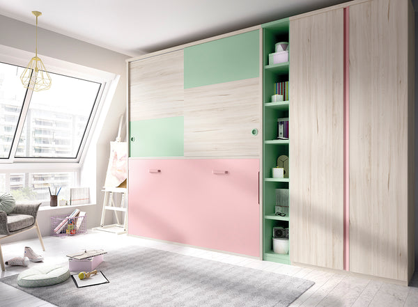 Side folding single wall bed with wardrobes-custom made furniture Ireland