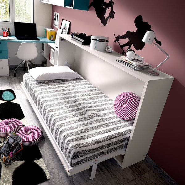 Side folding single wall bed - custom made furniture Ireland