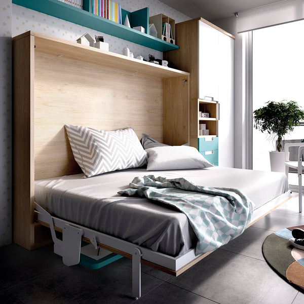 side folding double wall bed with desk-custom made furniture Ireland