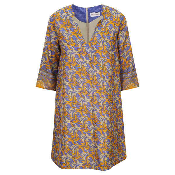 Jenna Dress - Indigo Blue & Gold