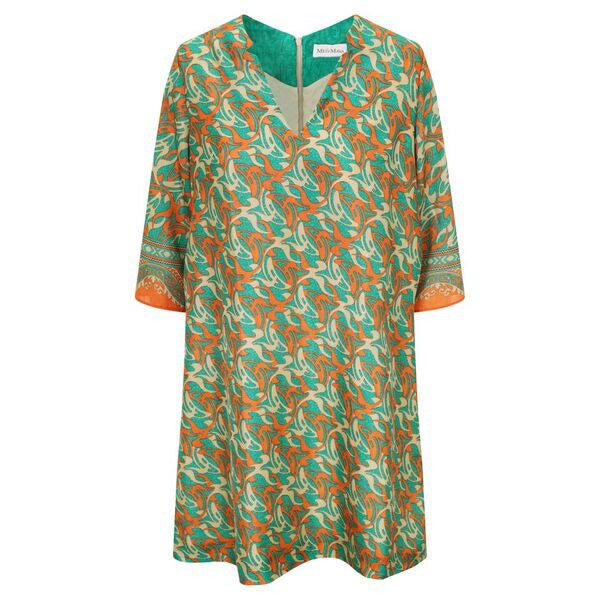 Jenna Dress - Orange & Green