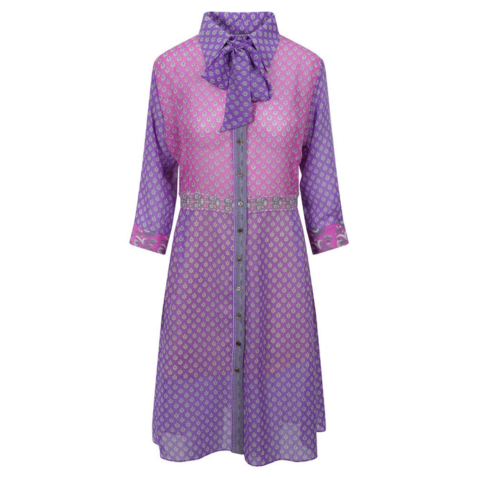 Linda Shirt Dress - Pink Bodice, Purple Sleeves & Skirt