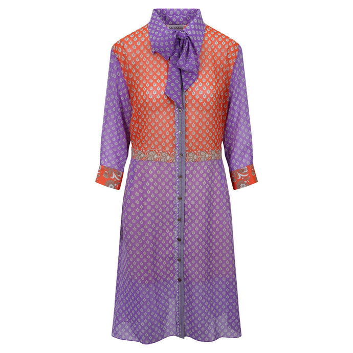 Linda Shirt Dress - Orange Bodice, Purple Sleeves & Skirt