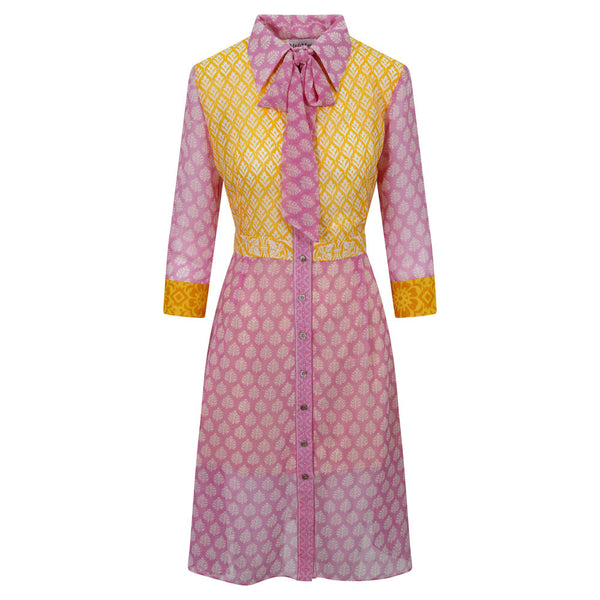 Linda Shirt Dress - Yellow Bodice, Lilac Sleeves & Skirt