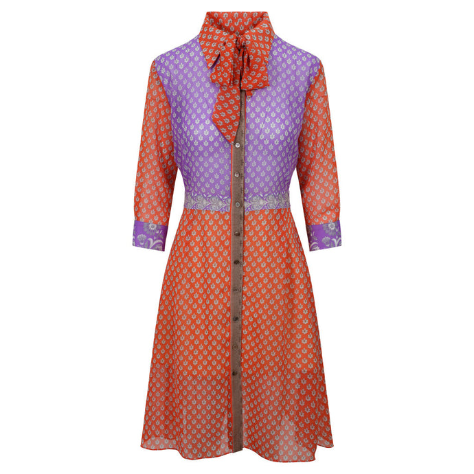 Linda Shirt Dress - Pink Bodice, Peach Sleeves & Skirt
