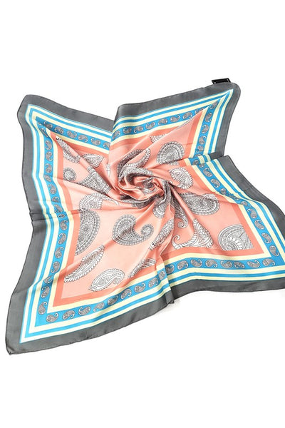 Pink Paisley Square Hair Scarf