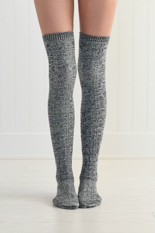 Dark Grey Knit Thigh High Sock