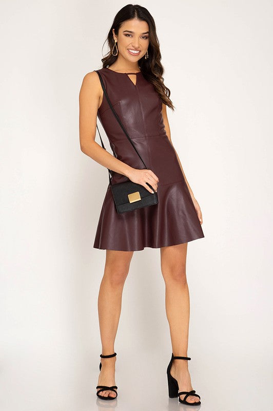 Wine Sleeveless Faux Leather Dress