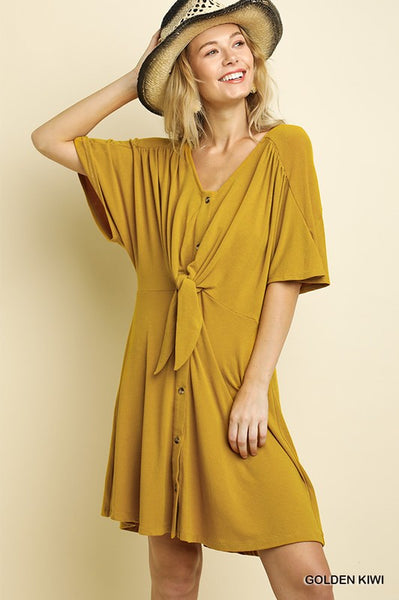 Mustard SS Button Front Dress with Waist Tie