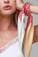Red Pleated Diamond Hair Scarf