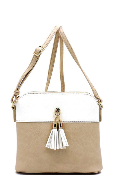 Nude and White Tassel Colorblock Crossbody Bag