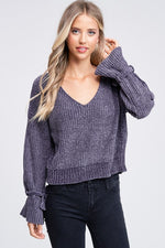 Charcoal Chenille V-Neck Wrist Detail Sweater
