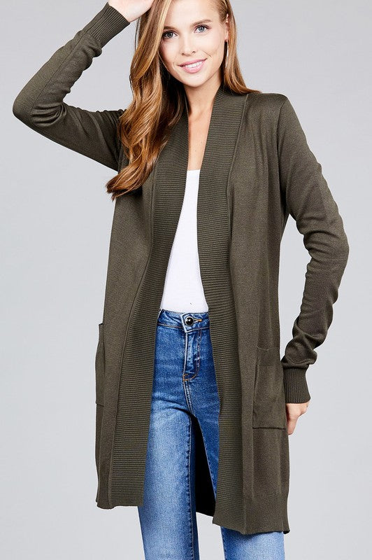 Olive Ribbed Hem Open Cardigan