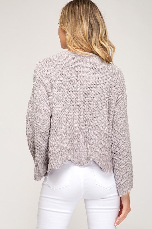 Light Grey Wide Sleeve Scalloped Hem Chenille Sweater