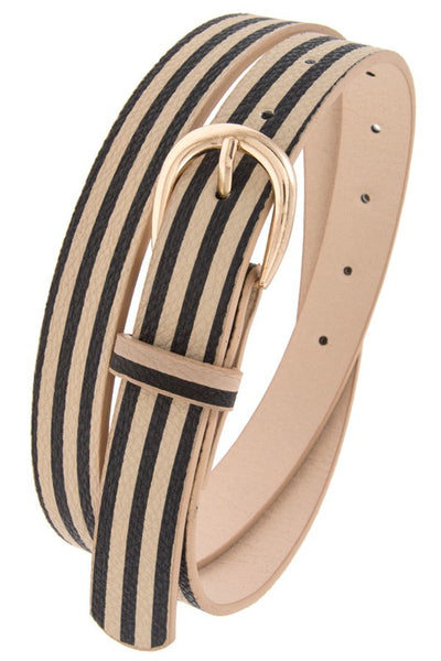 Beige and Black Striped Belt