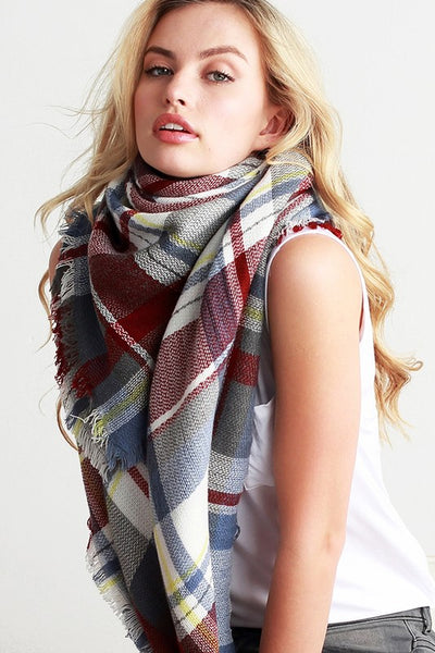 Light Blue and Maroon Plaid Blanket Scarf
