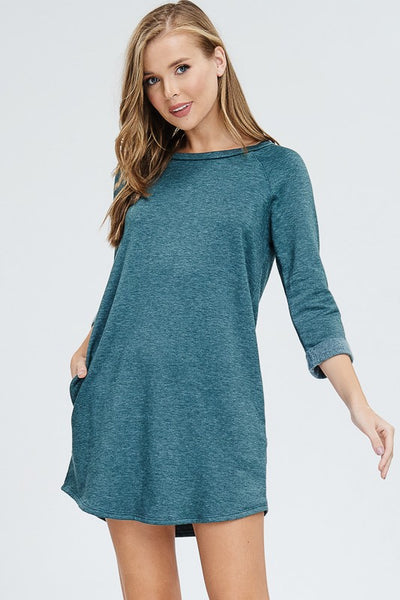 Teal Sweatshirt Dress