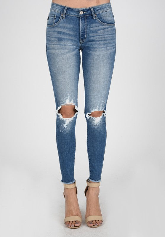 Light Wash - Mid Rise - Open Knee Distressed - Raw Hem - Skinny Jeans