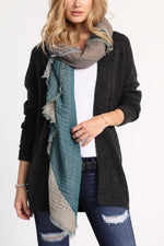 Teal Frayed Scarf