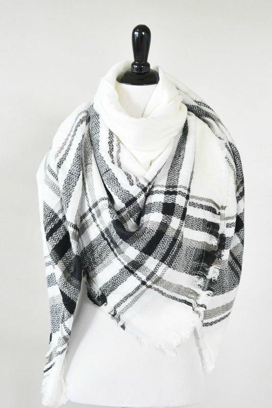 White and Black Plaid Blanket Scarf