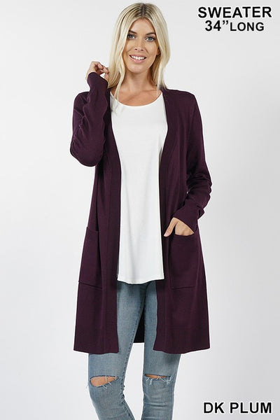 Dark Plum Open Cardigan with Pockets