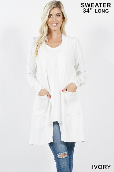 Ivory Open Cardigan with Pockets