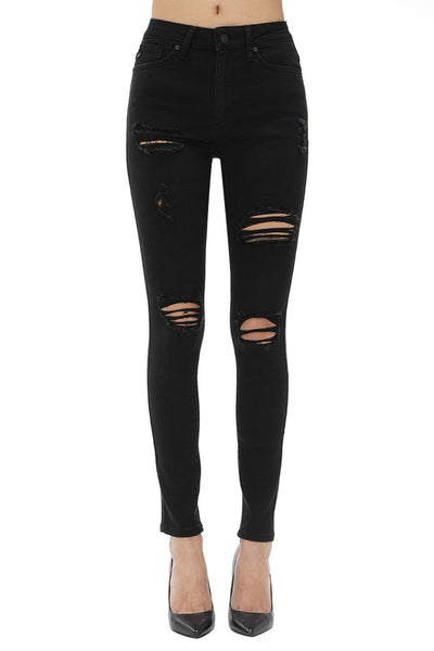 Black High Waisted Ripped Jeans