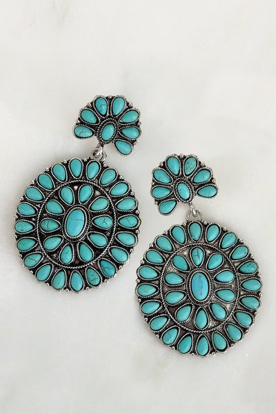 Turquoise Circle Boho Blossom Earrings