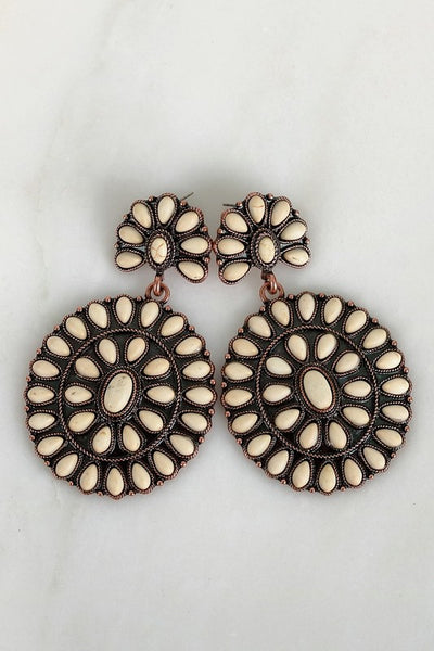 Cream Circle Boho Blossom Earrings