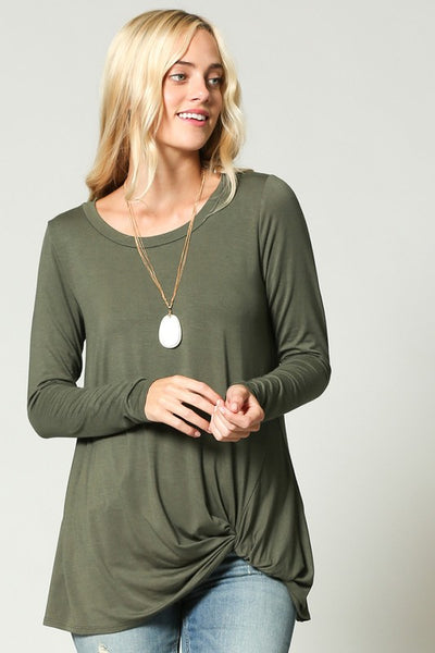 Army Green LS Twist Top