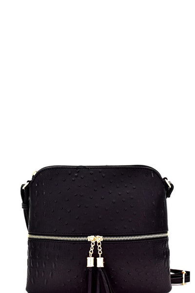 Black Ostrich Crossbody Purse