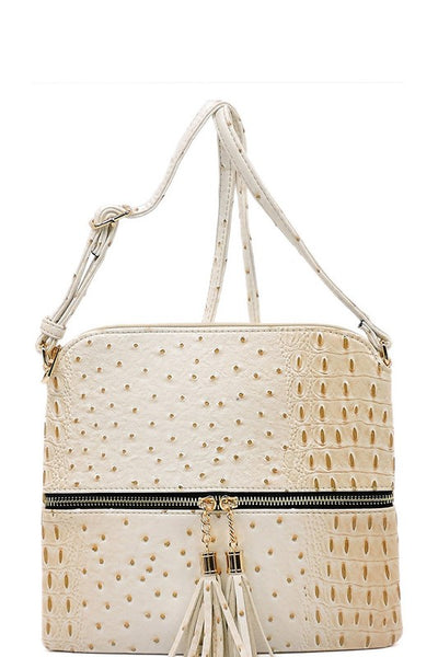 Beige Ostrich Crossbody Purse