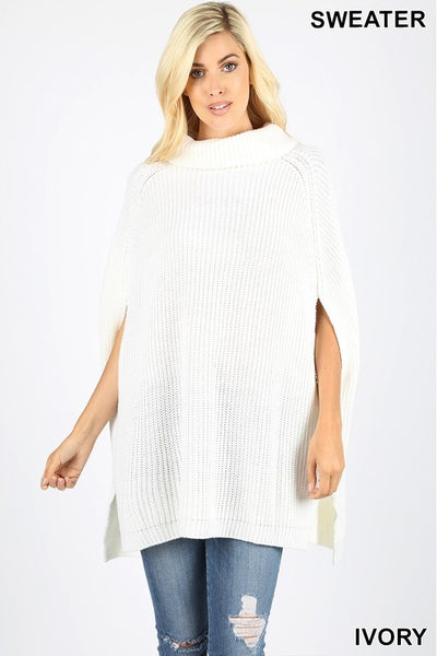 Ivory Turtleneck Poncho Sweater