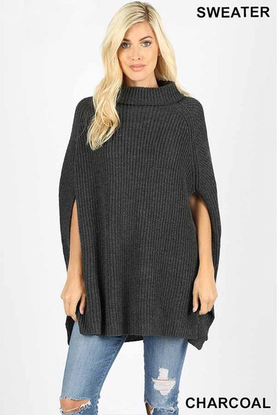 Charcoal Turtleneck Poncho Sweater