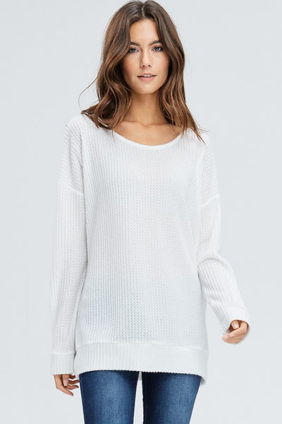 Off White LS Thermal Criss Cross Top