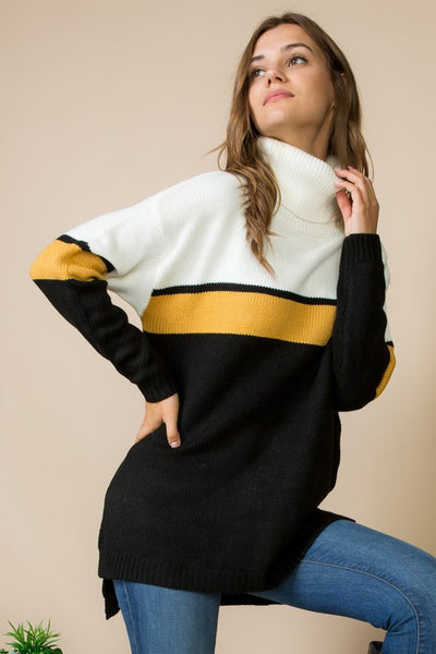 Black and Mustard Color Block Turtle Neck Sweater