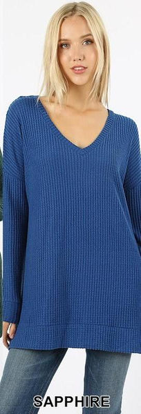 Sapphire Thermal Waffle V-Neck Sweater