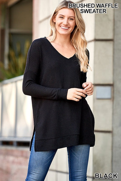 Black Thermal Waffle V-Neck Sweater