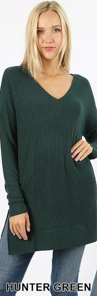 Hunter Green Thermal Waffle V-Neck Sweater