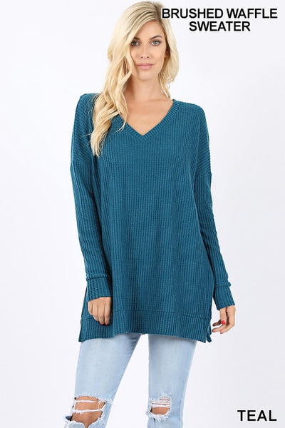 Teal Thermal Waffle V-Neck Sweater