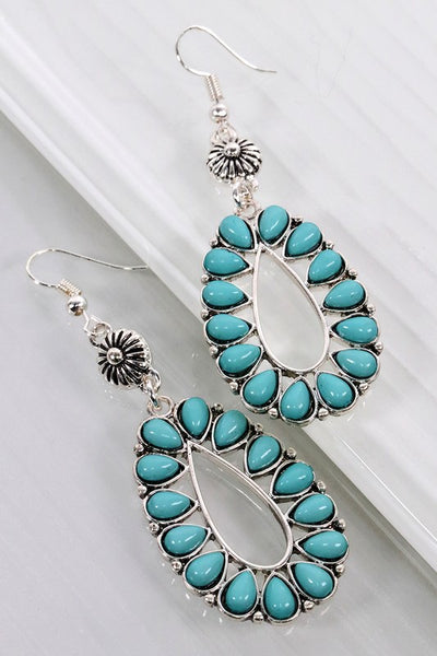 Turquoise and Silver Boho Blossom Earrings