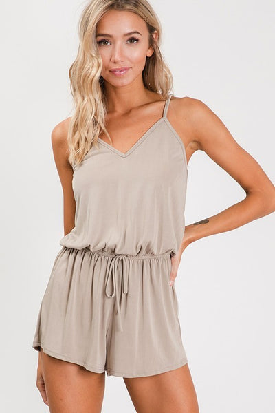 Taupe Cross Back Strap Romper