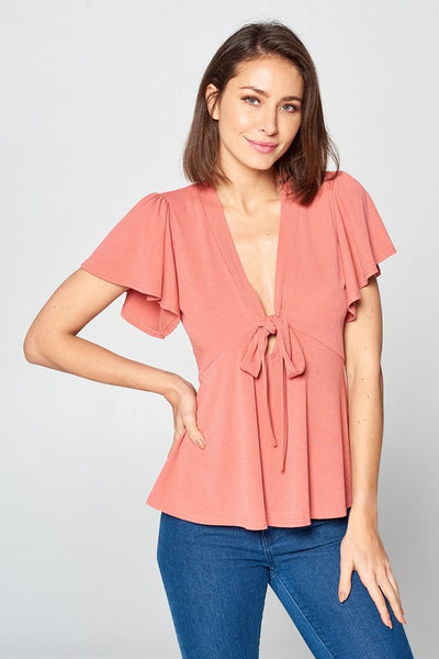 Coral SS Deep Front Tie Top