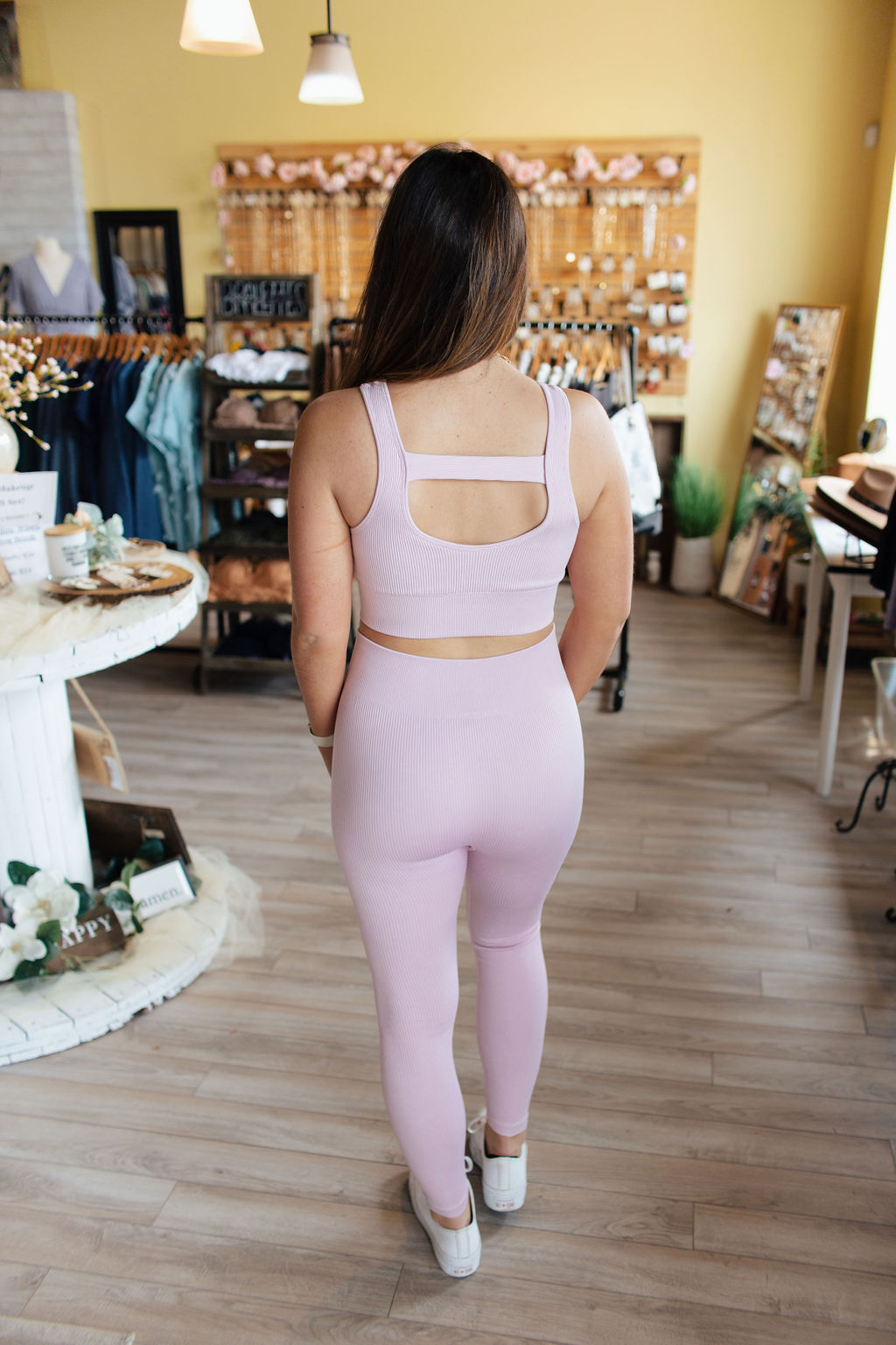 Periwinkle Ribbed Mineral Wash Leggings