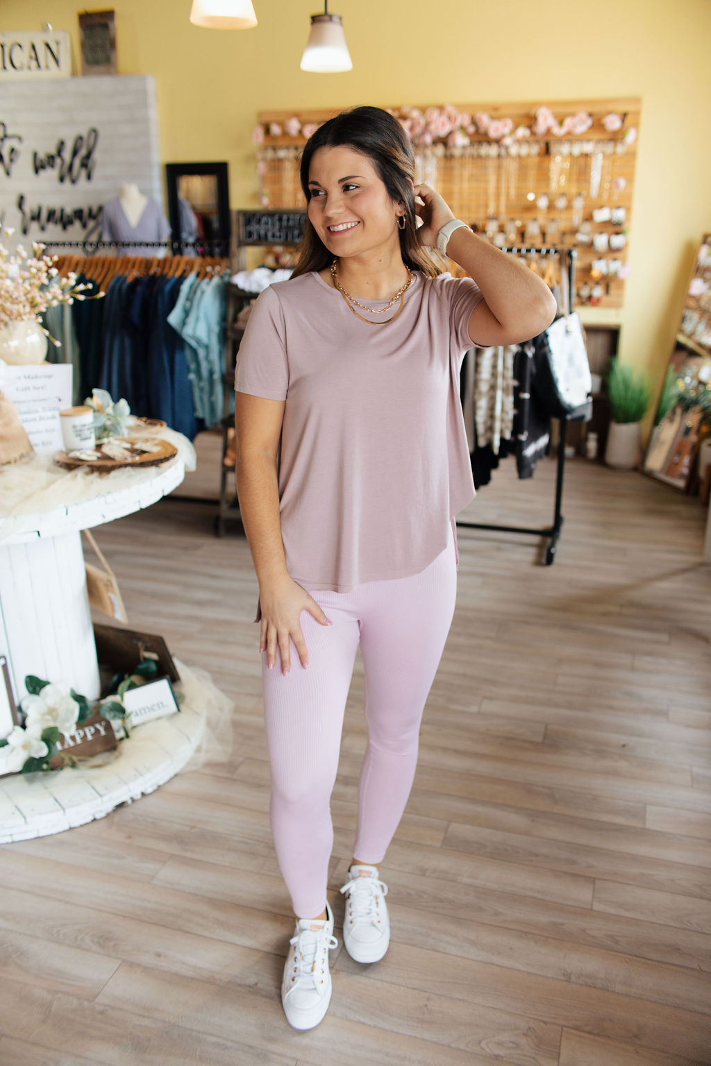 Dusty Pink High Low Crew Neck